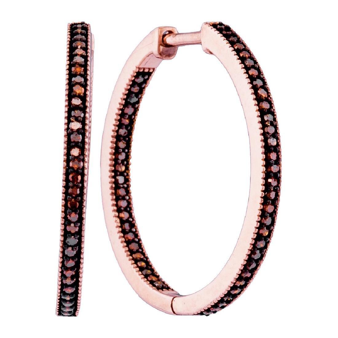 0.33 CTW Red Color Diamond Single Row Hoop Earrings