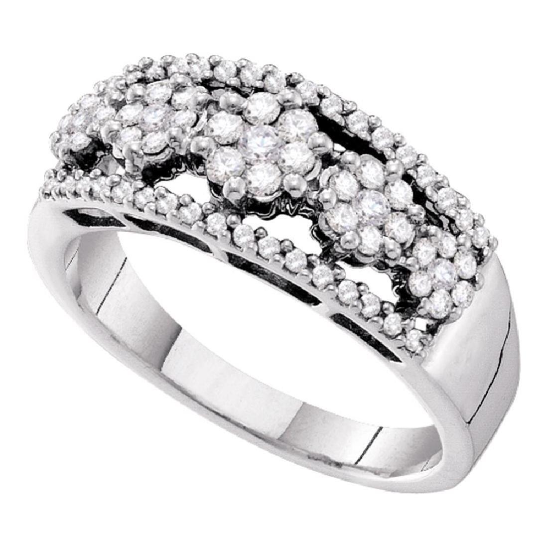 0.51 CTW Diamond Flower Cluster Cocktail Ring 14KT