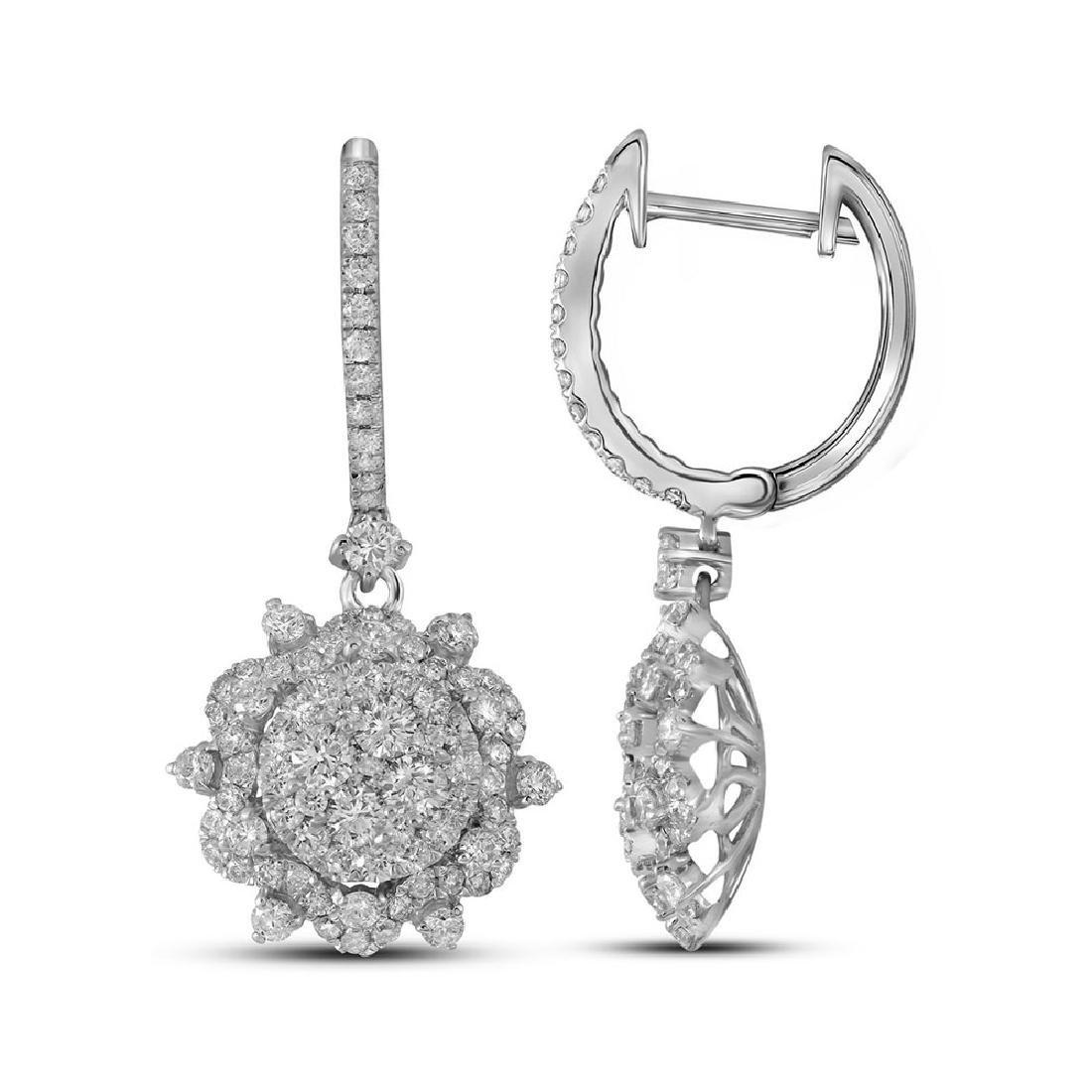 2.28 CTW Diamond Starburst Cluster Dangle Hoop Earrings