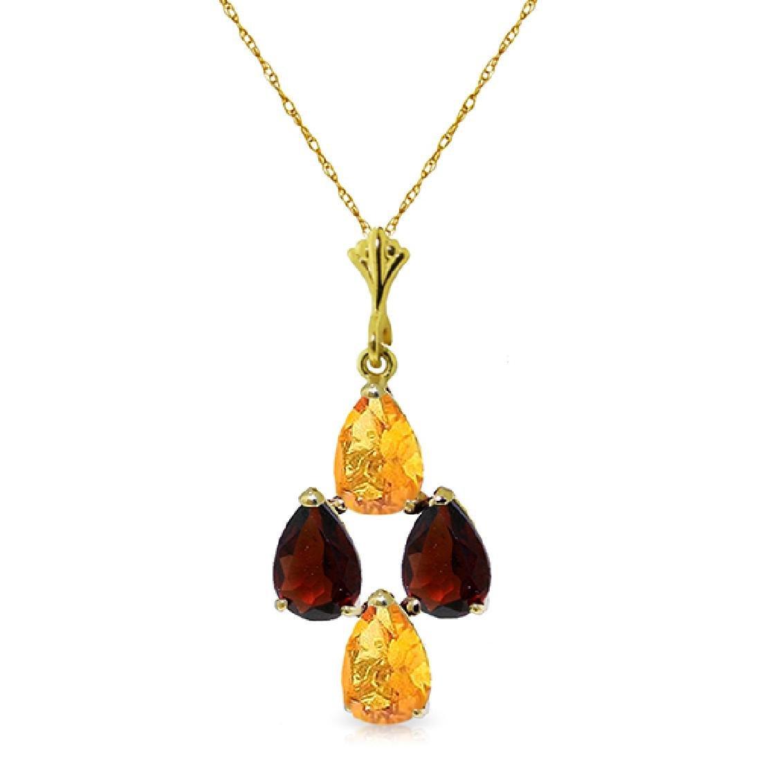 Genuine 1.50 ctw Citrine & Garnet Necklace Jewelry 14KT