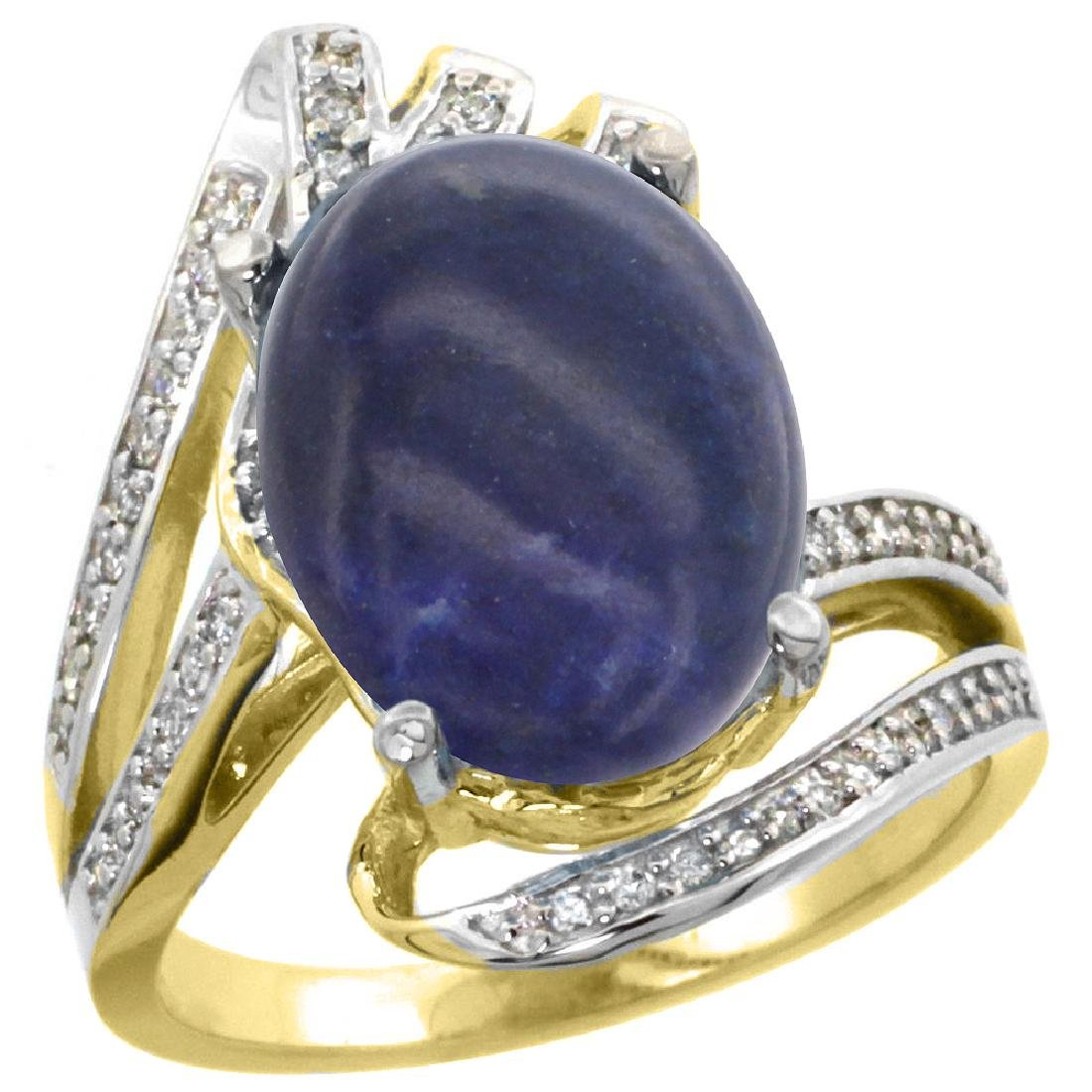 Natural 4.78 ctw lapis-lazuli & Diamond Engagement Ring