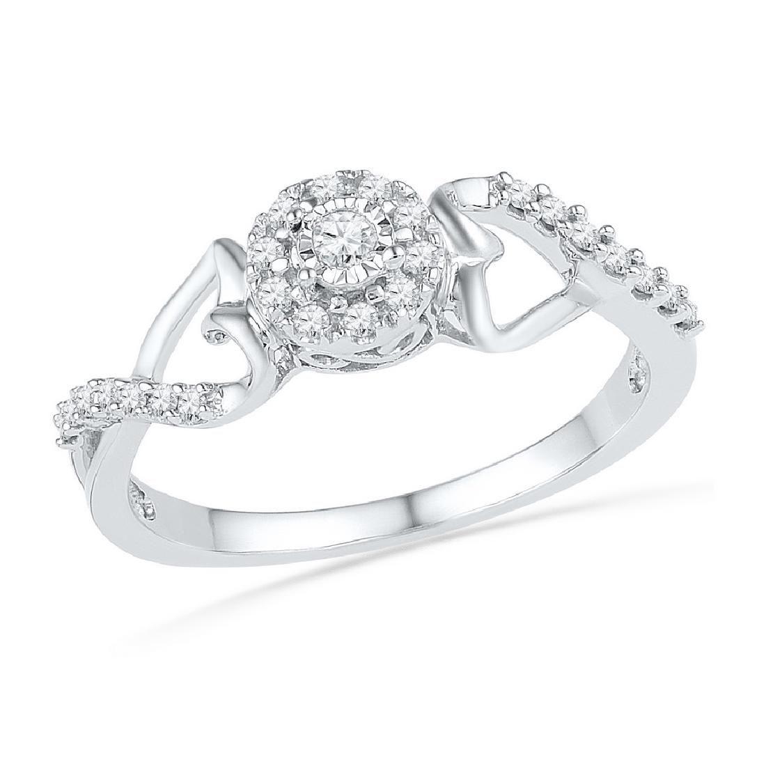 0.16 CTW Diamond Cluster Heart Promise Bridal Ring 10KT