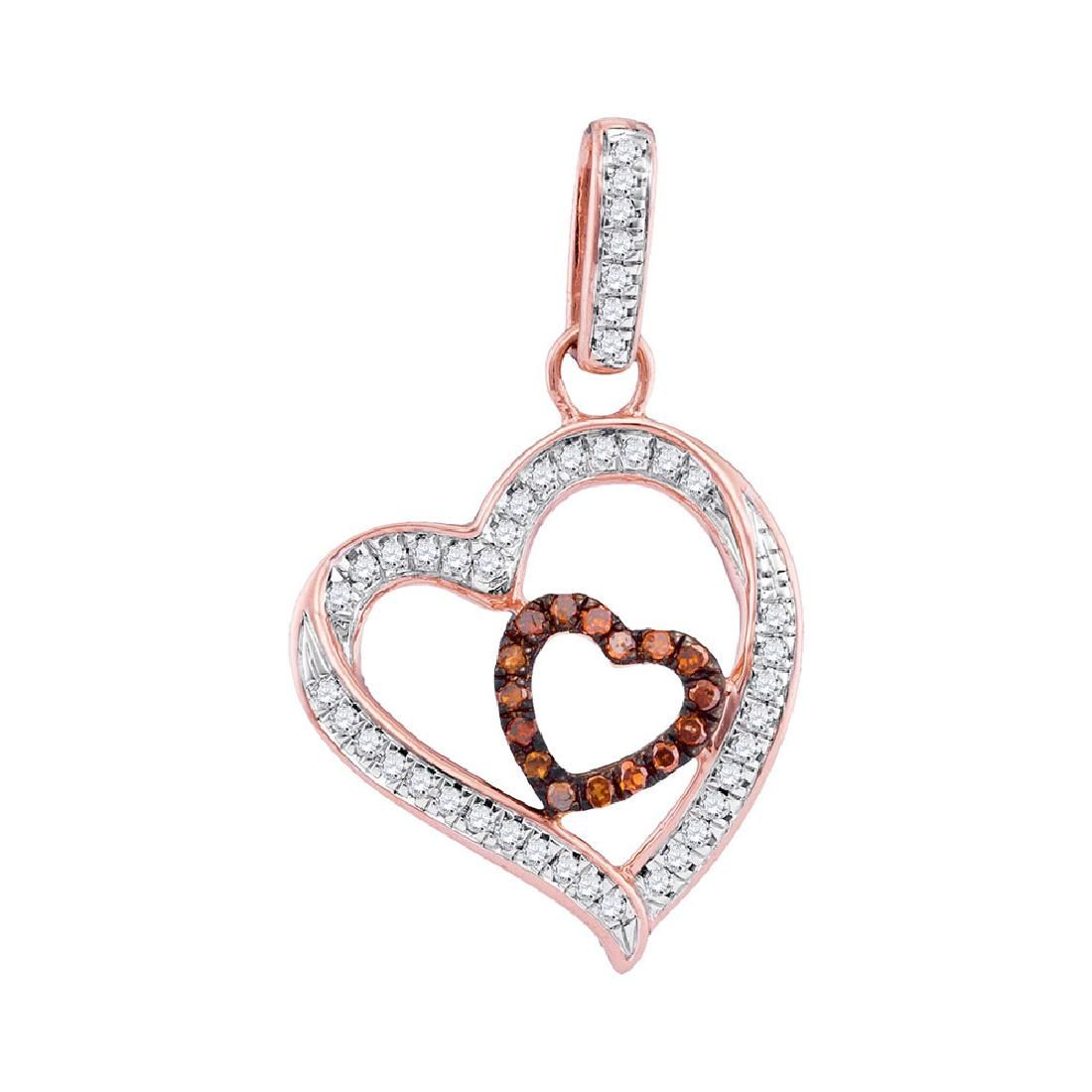 0.16 CTW Red Color Diamond Nested Double Heart Pendant