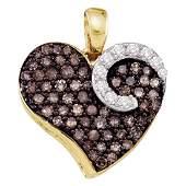 0.75 CTW Cognac-brown Color Diamond Heart Love Pendant