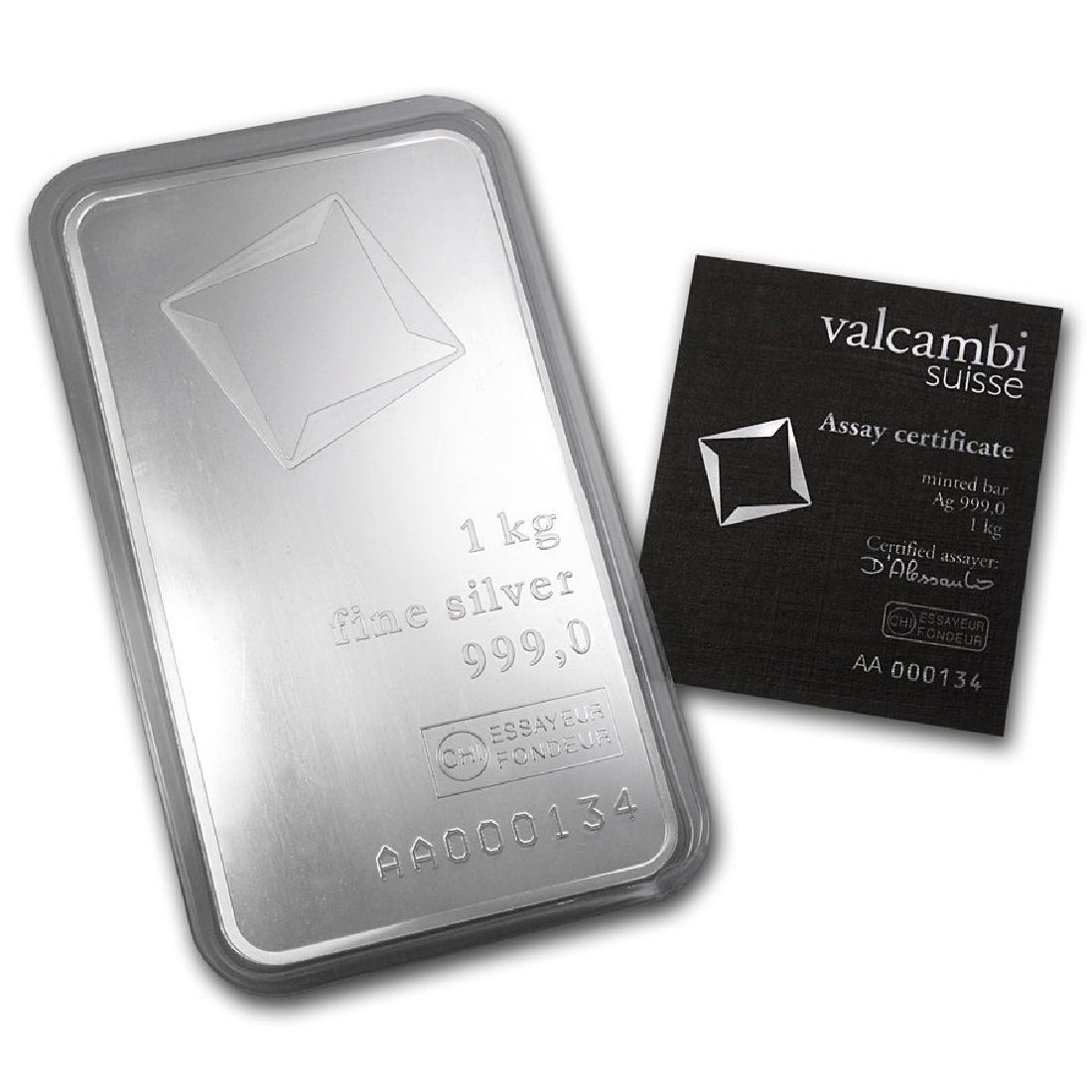 Genuine 1 kilo 0.999 Fine Silver Bar - Valcambi w/ - 2