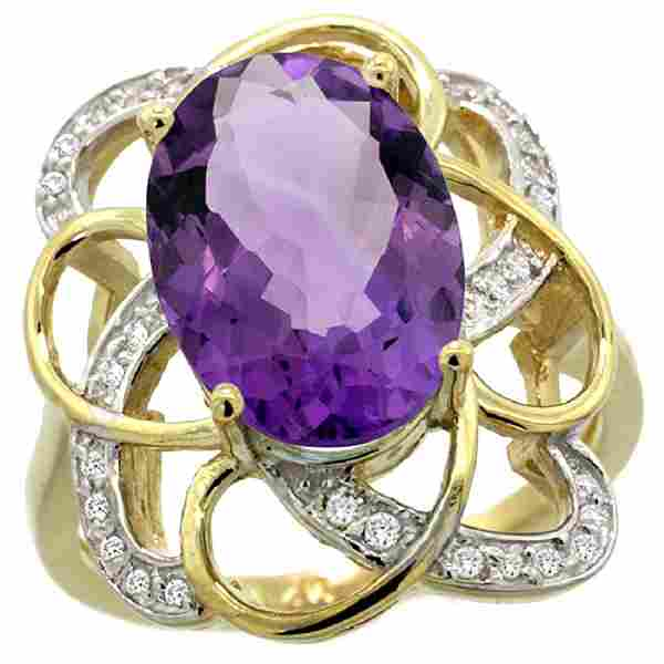 Natural 559 ctw amethyst Diamond Engagement Ring 14K