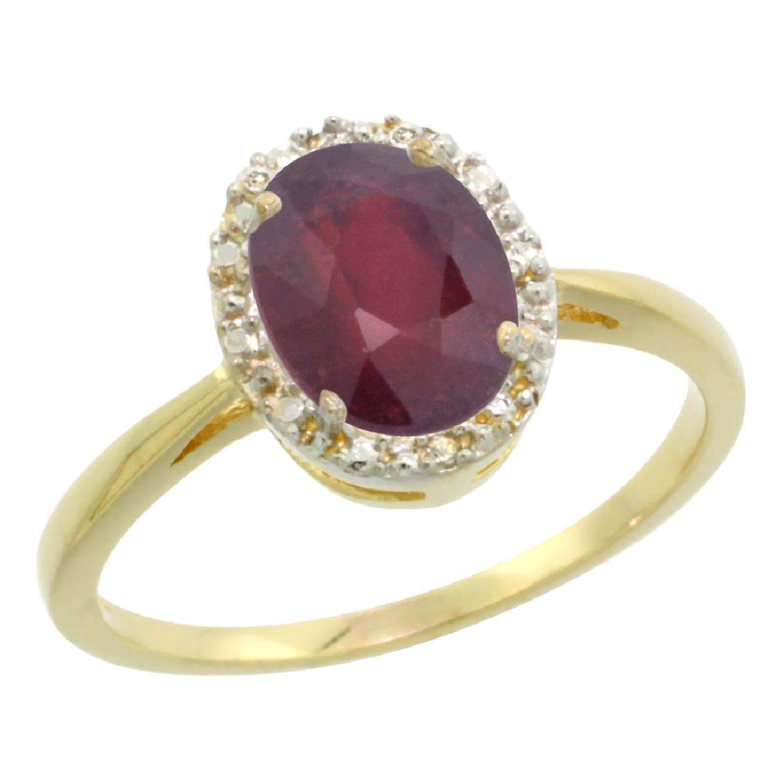 Natural 1.52 ctw Ruby & Diamond Engagement Ring 10K
