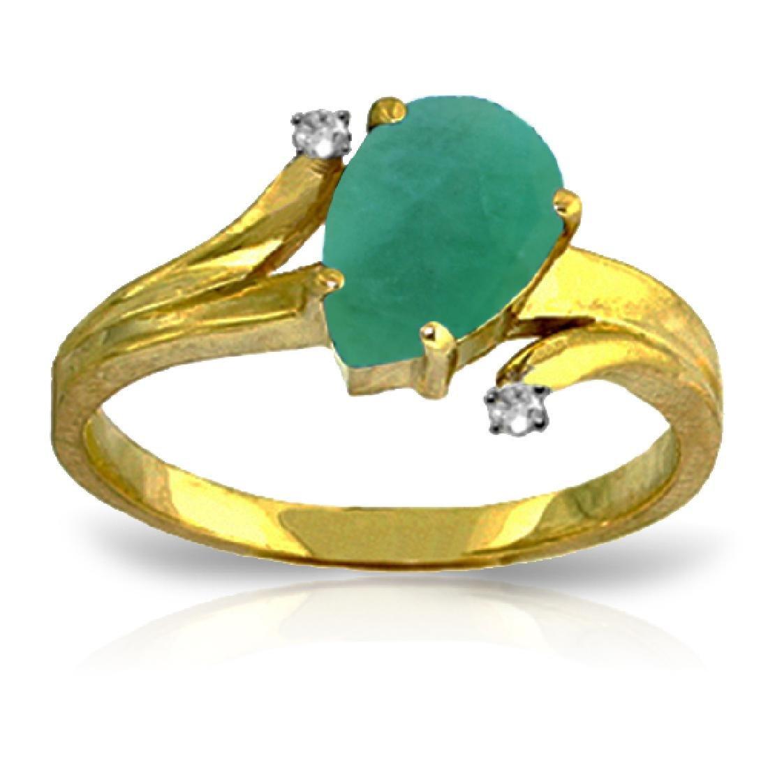 Genuine 1.01 ctw Emerald & Diamond Ring Jewelry 14KT