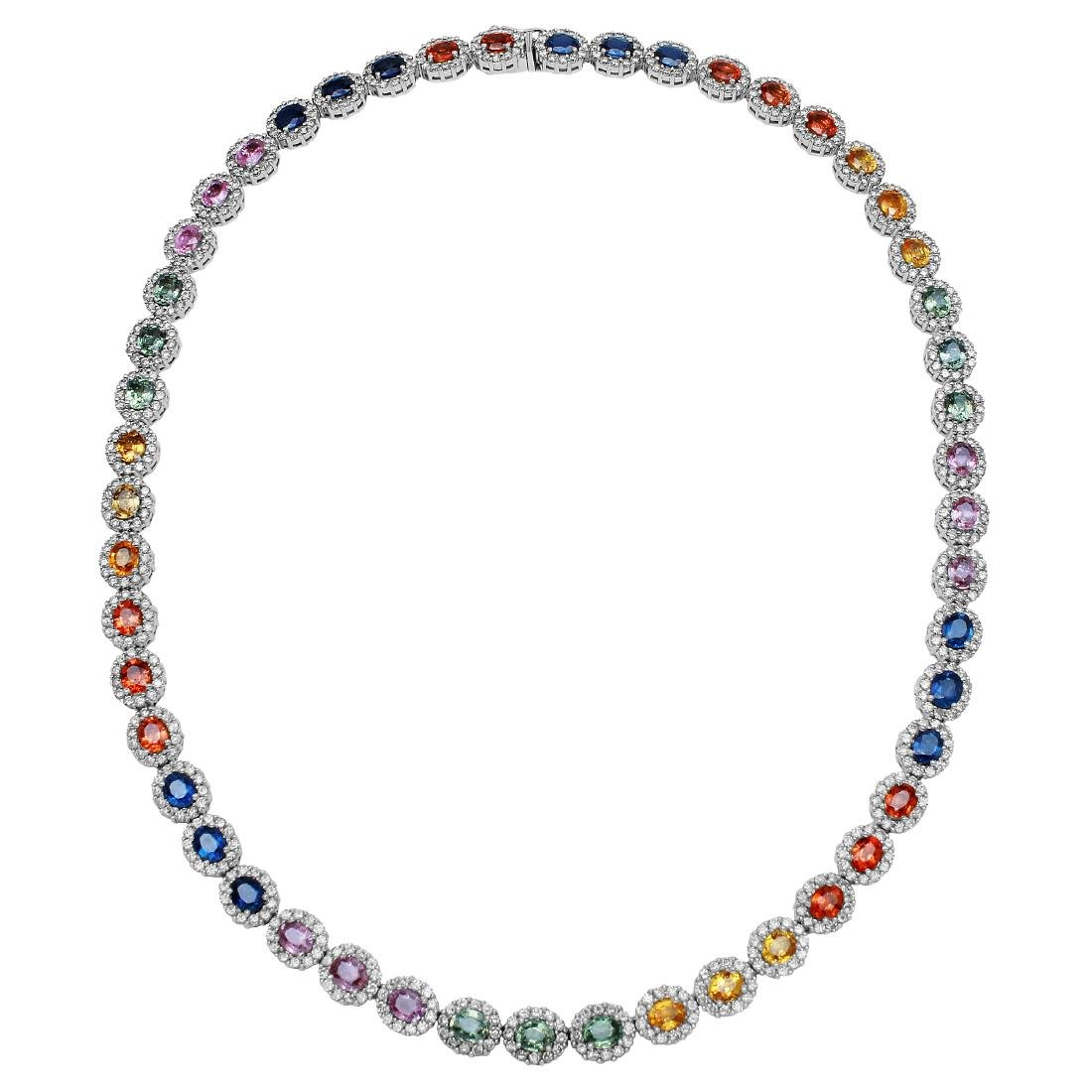 33.92 CTW Multi-Color Sapphire & Diamond Necklace 14K