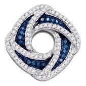 0.55 CTW Blue Color Diamond Square Pendant 10KT White