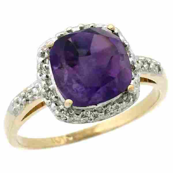 Natural 3.92 ctw Amethyst & Diamond Engagement Ring 10K