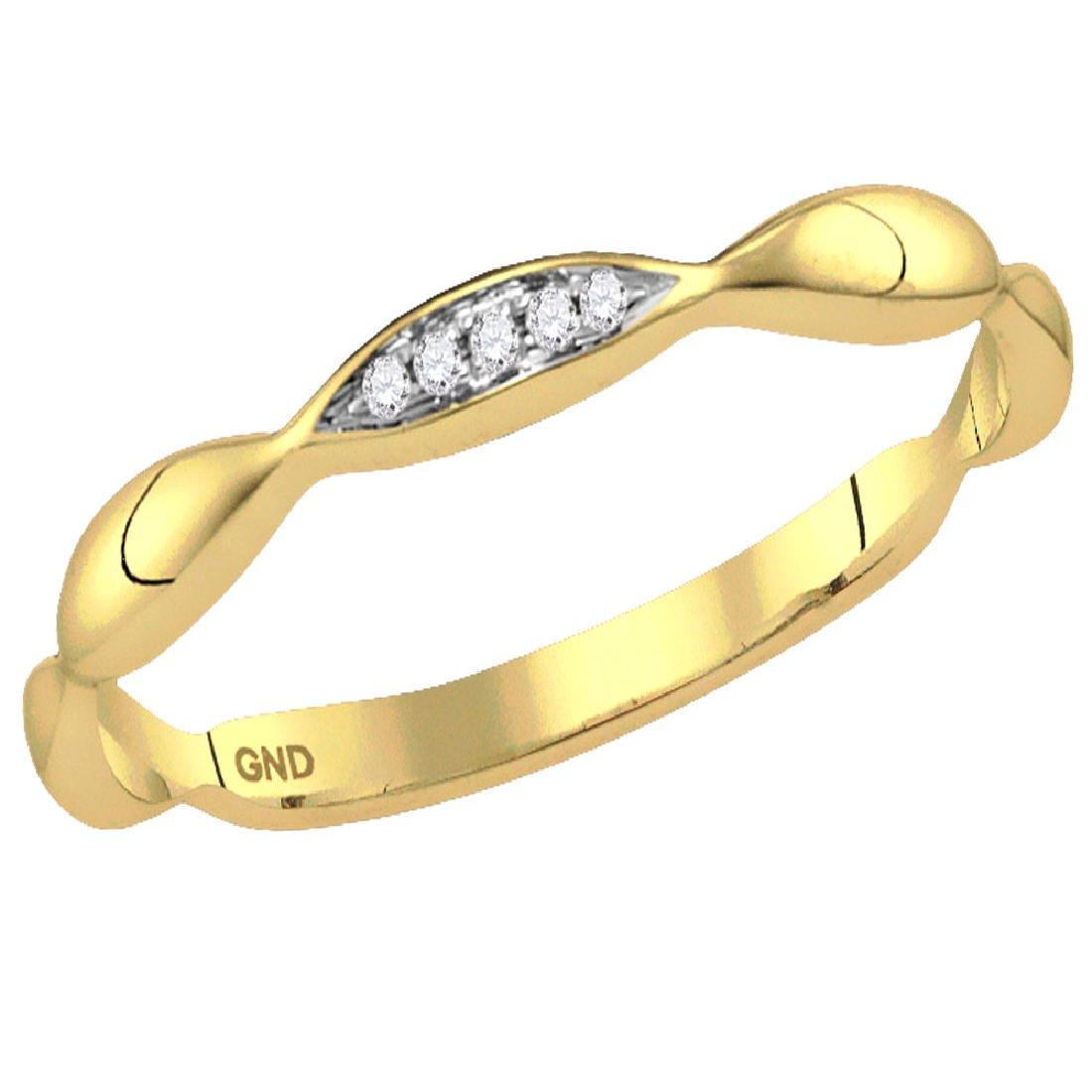 0.02 CTW Diamond Contour Stackable Ring 10KT Yellow