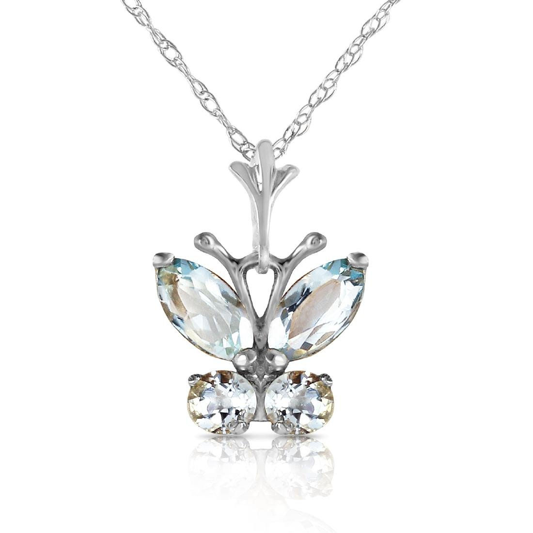 Genuine 0.60 ctw Aquamarine Necklace Jewelry 14KT White