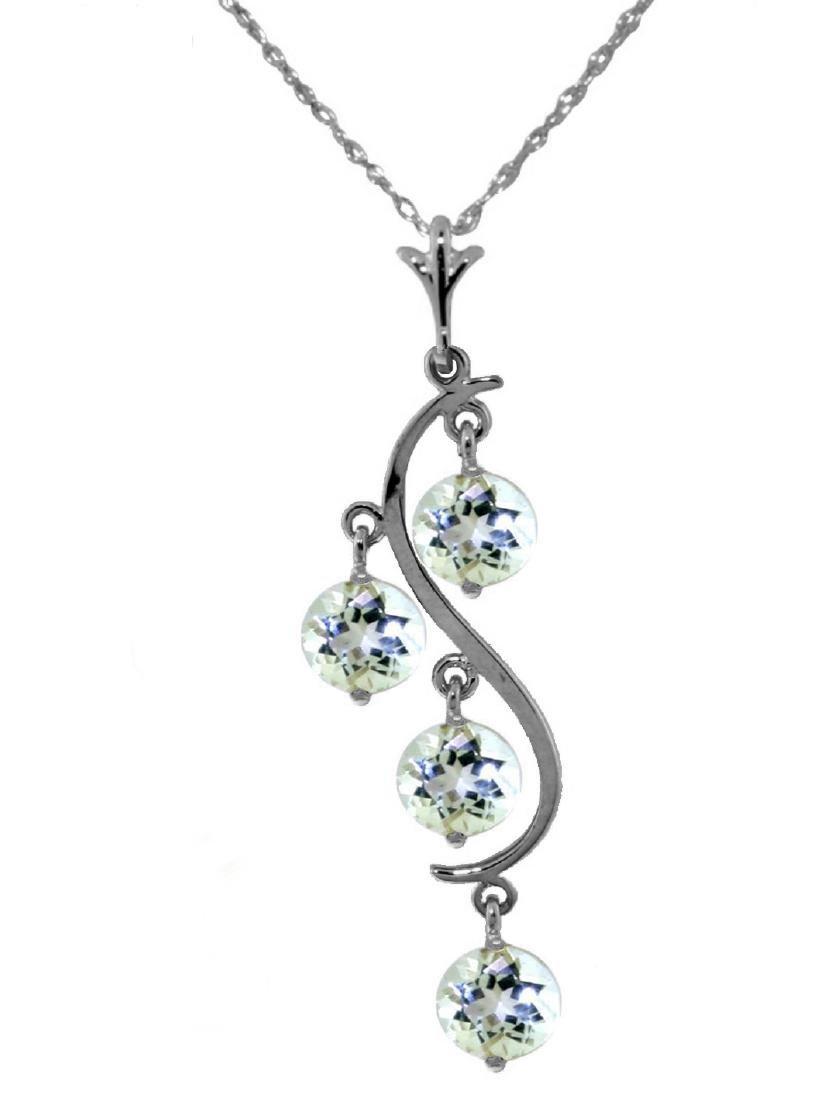 Genuine 2.25 ctw Aquamarine Necklace Jewelry 14KT White