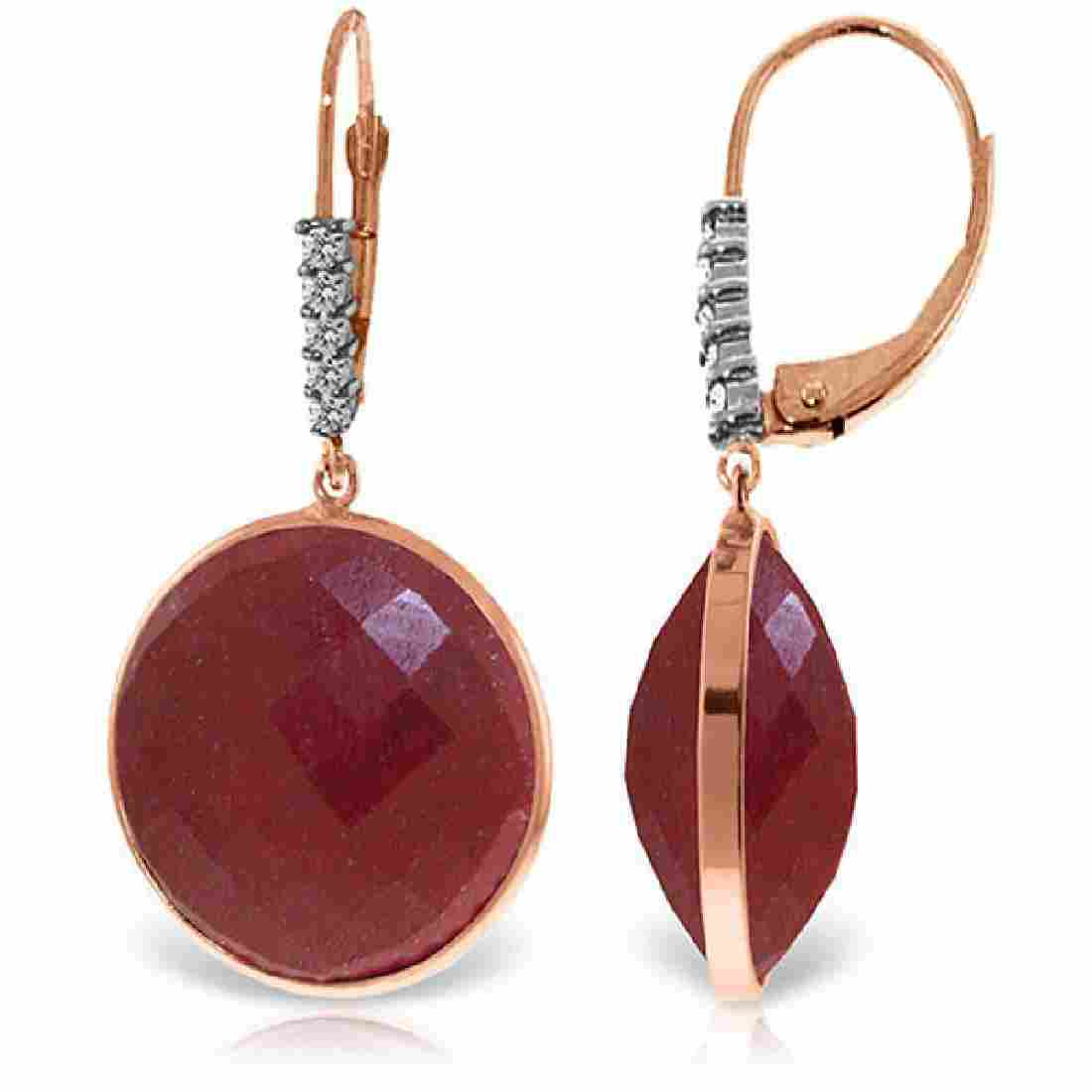 Genuine 46.15 ctw Ruby & Diamond Earrings Jewelry 14KT