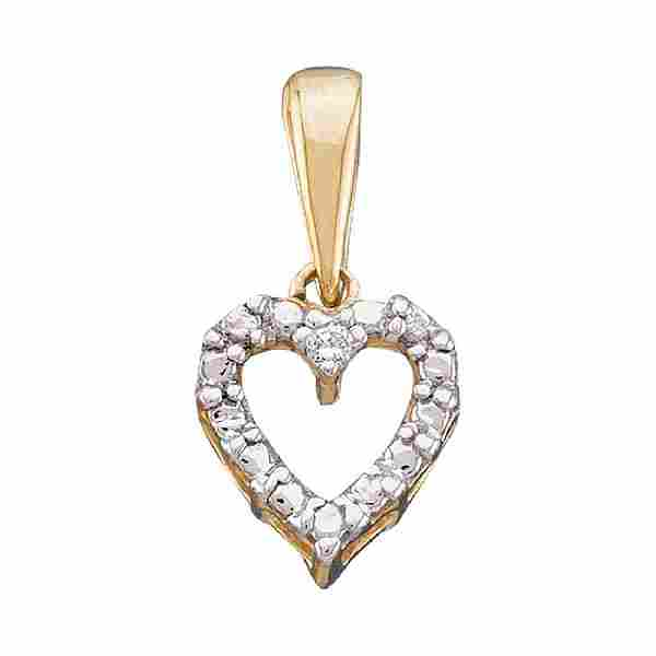 0.01 CTW Diamond Heart Love Pendant 10KT Yellow Gold -