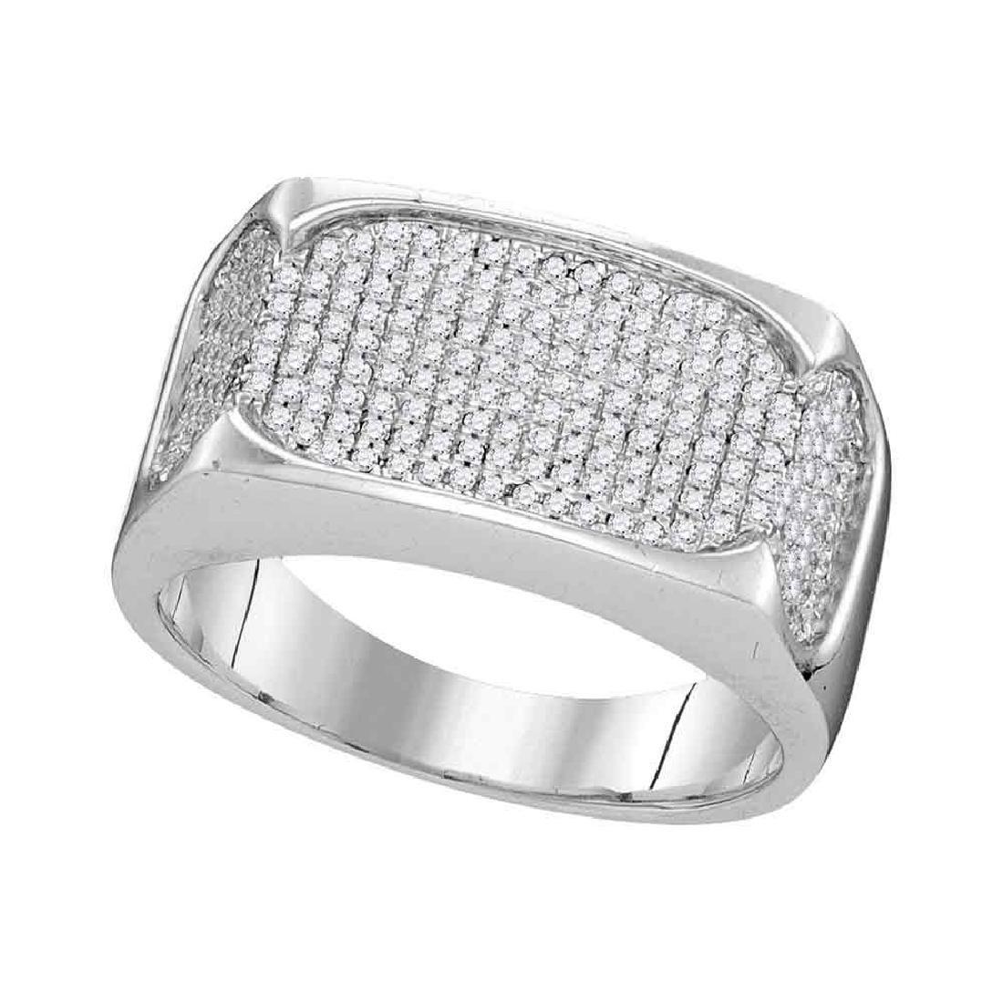 0.50 CTW Mens Diamond Rectangle Flat Cluster Ring 10KT