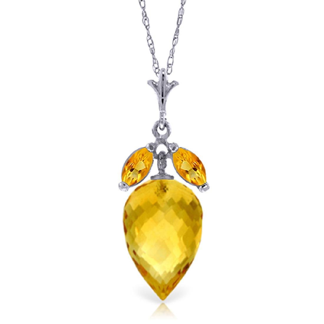 Genuine 10 ctw Citrine Necklace Jewelry 14KT White Gold
