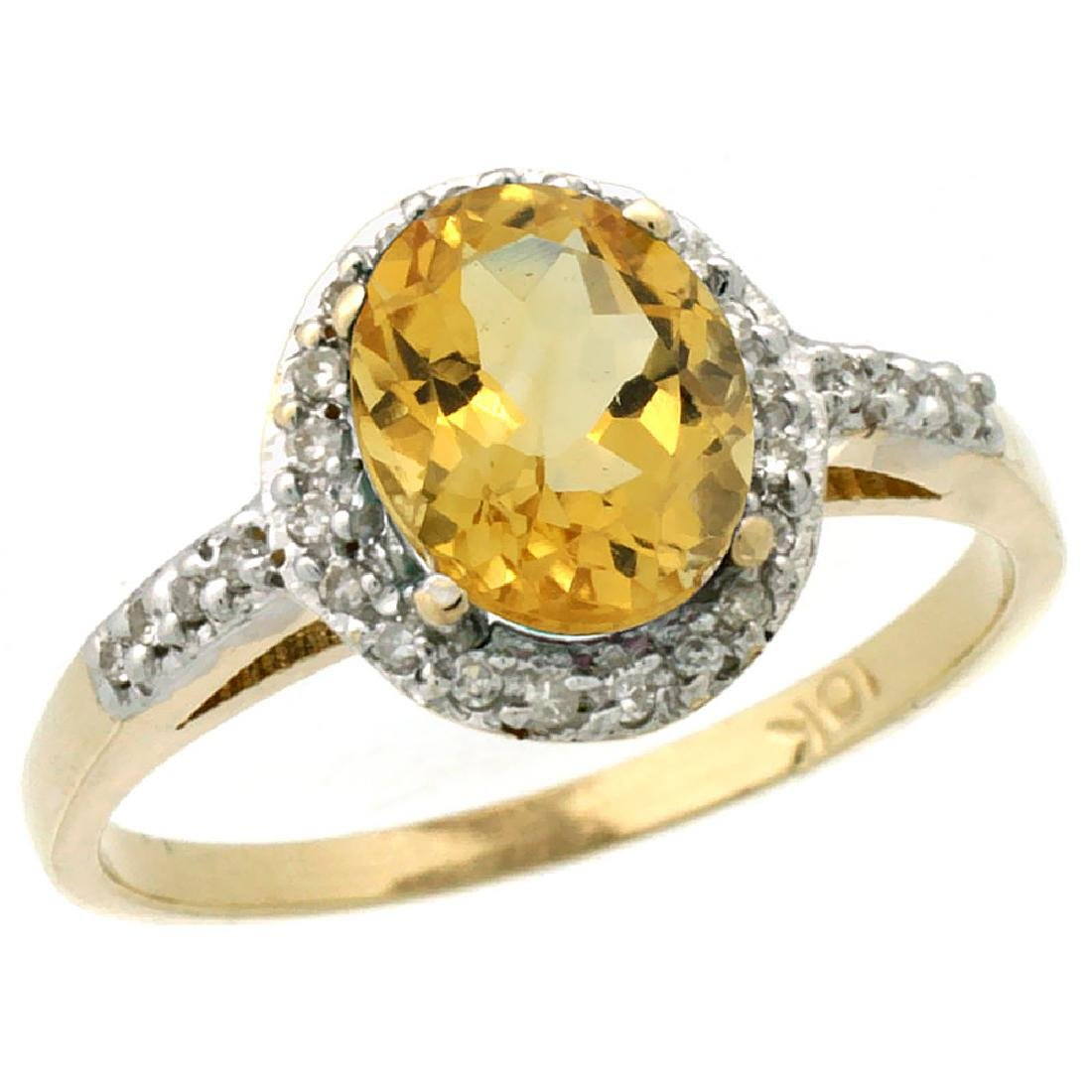 Natural 1.3 ctw Citrine & Diamond Engagement Ring 14K
