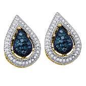 040 CTW Blue Color Diamond Teardrop Cluster Earrings