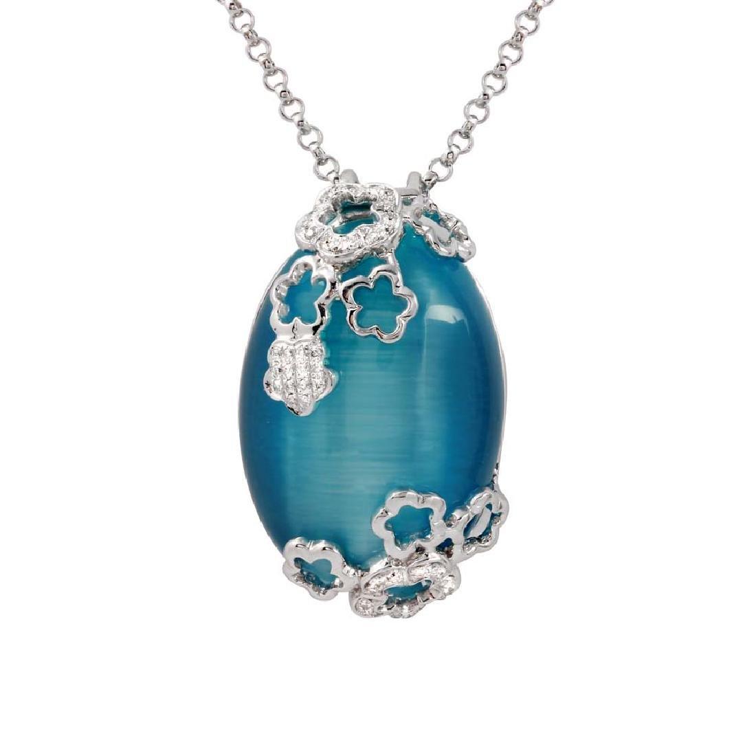 33.23 CTW Cat's Eye & Diamond Necklace 14K White Gold -