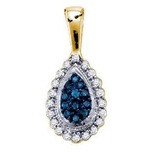 015 CTW Blue Color Diamond Teardrop Cluster Pendant
