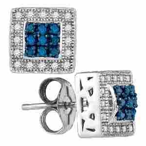 0.18 CTW Blue Color Diamond Square Cluster Stud