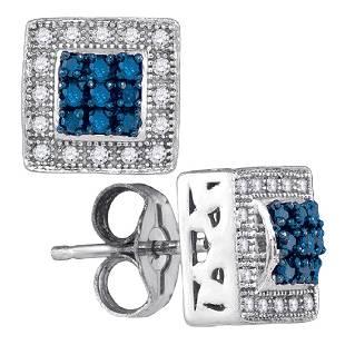 018 CTW Blue Color Diamond Square Cluster Stud