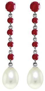 Genuine 10 ctw Ruby Pearl Earrings Jewelry 14KT White