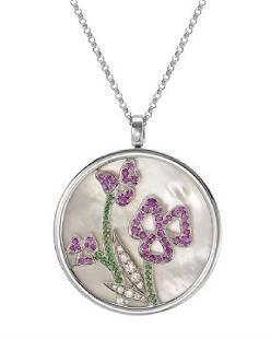 1614 CTW Conch GarnettPink Sapphire Necklace 14K