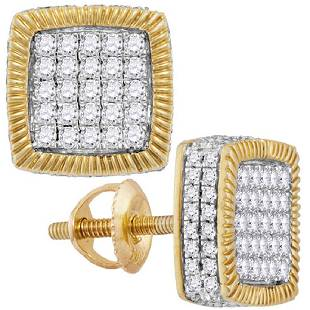 090 CTW Diamond Square Rope Earrings 10KT Yellow Gold