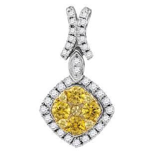 098 CTW Yellow Diamond Diagonal Square Cluster Pendant