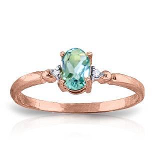 Genuine 046 ctw Blue Topaz Diamond Ring Jewelry 14KT
