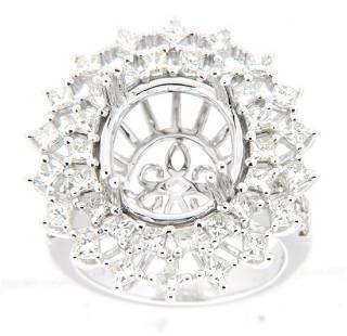2 CTW Diamond Semi Mount Ring 14K White Gold