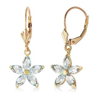 Genuine 28 ctw Aquamarine Earrings Jewelry 14KT Yellow