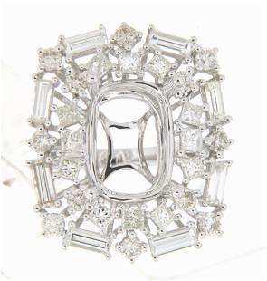 27 CTW Diamond Semi Mount Ring 14K White Gold