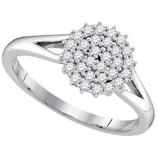 030 CTW Diamond Circle Cluster Ring 10KT White Gold