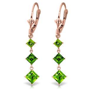 Genuine 479 ctw Peridot Earrings Jewelry 14KT Rose