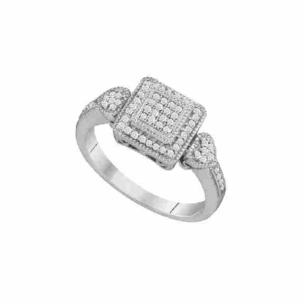 020 CTW Diamond Square Cluster HeartRing 10KT White