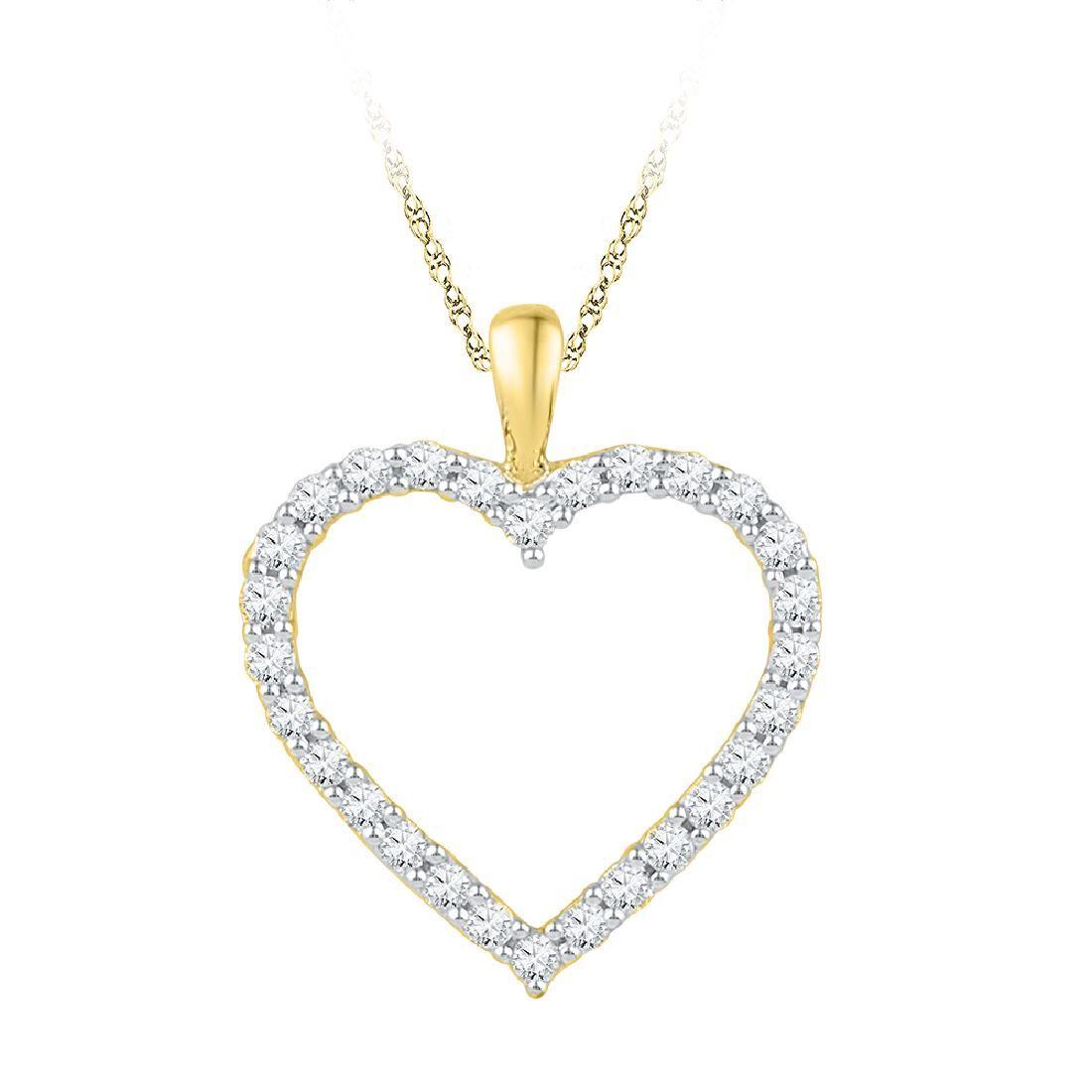025 CTW Diamond Heart Outline Pendant 10KT Yellow Gold