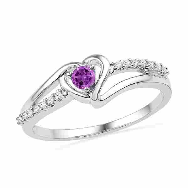 018 CTW Created Amethyst Heart Love Ring 10KT White