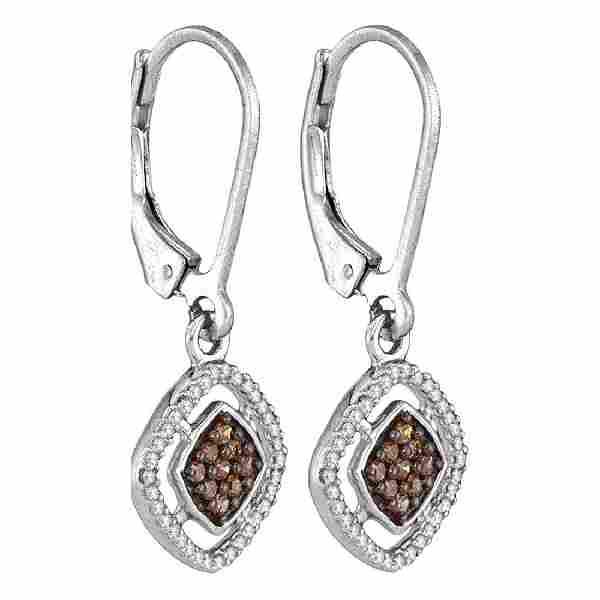 033 CTW Cognacbrown Color Diamond Diagonal Earrings