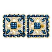 026 CTW Blue Color Diamond Square Cluster Earrings