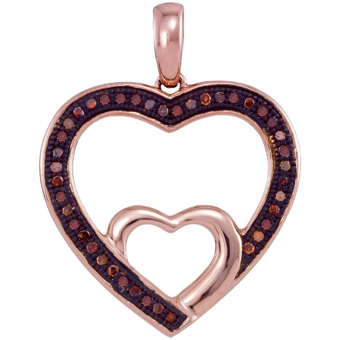 0.12 CTW Red Color Diamond Nested Double Heart Pendant