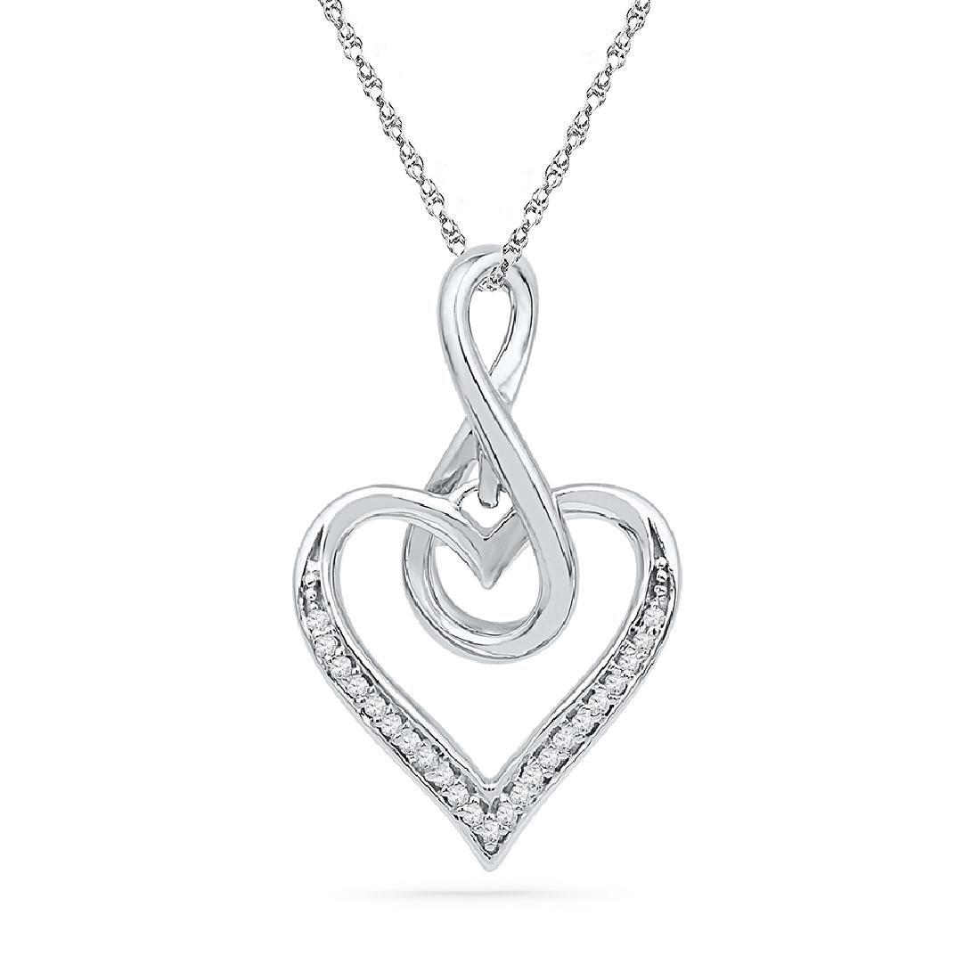 0.07 CTW Diamond Infinity Heart Love Pendant 10KT White