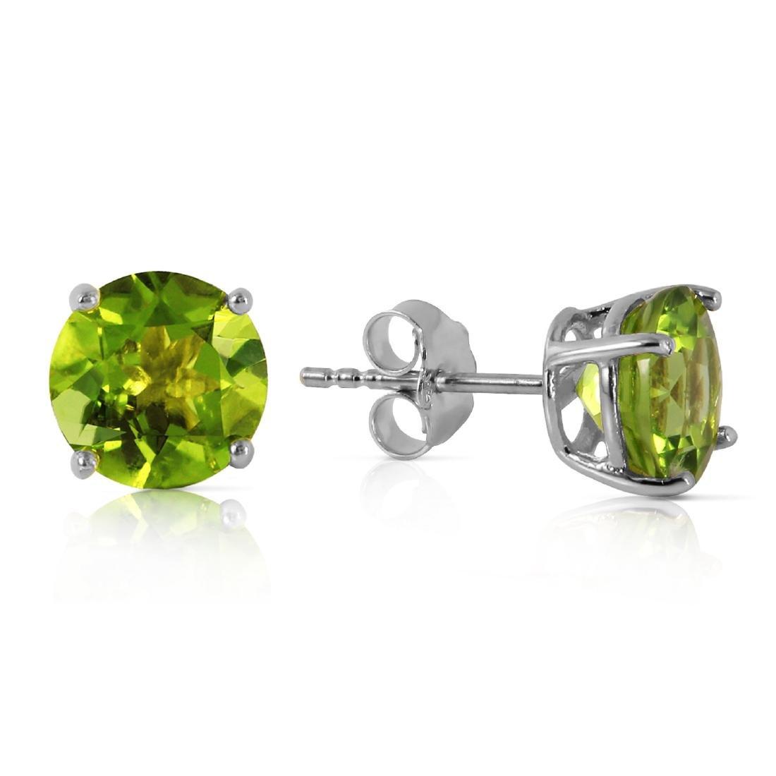 Genuine 3.1 ctw Peridot Earrings Jewelry 14KT White