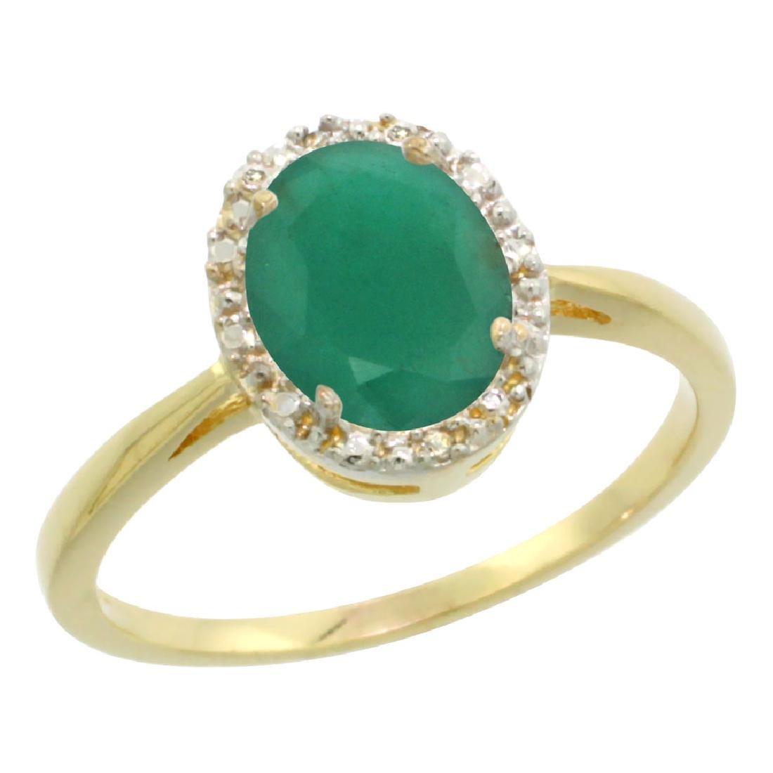 Natural 1.52 ctw Emerald & Diamond Engagement Ring 14K