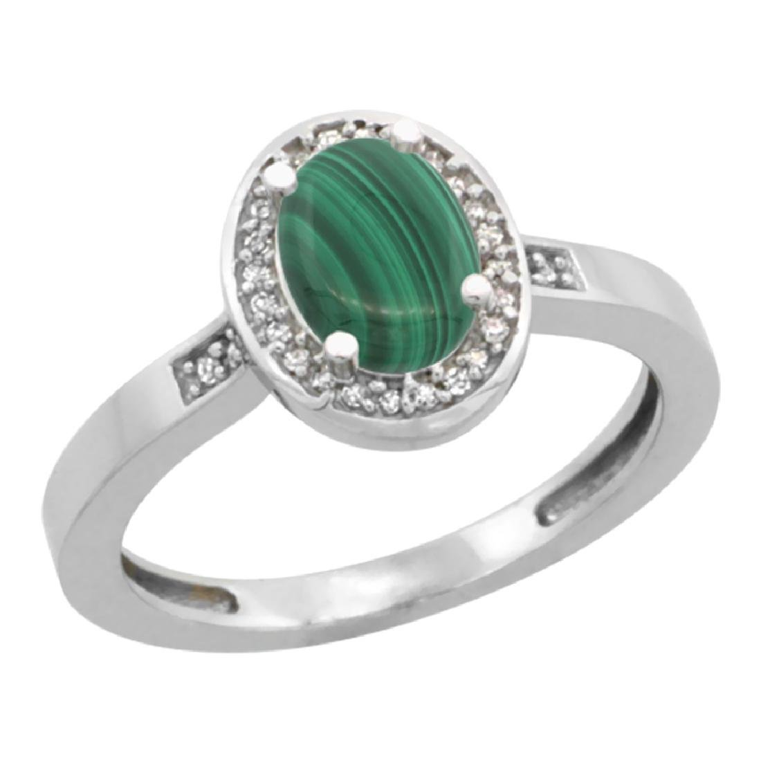Natural 0.83 ctw Malachite & Diamond Engagement Ring