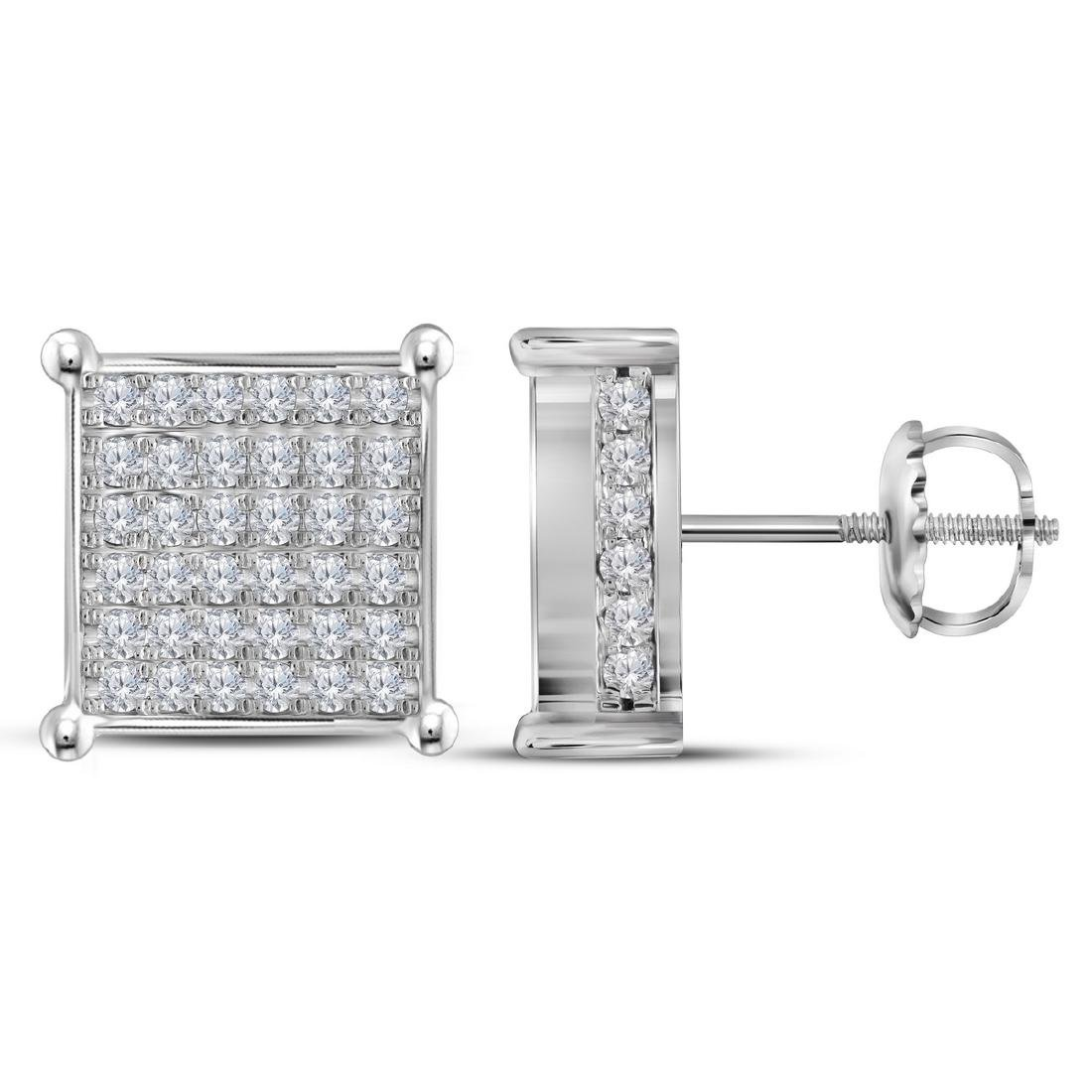 1.48 CTW Diamond Square Cluster Stud Earrings 10KT