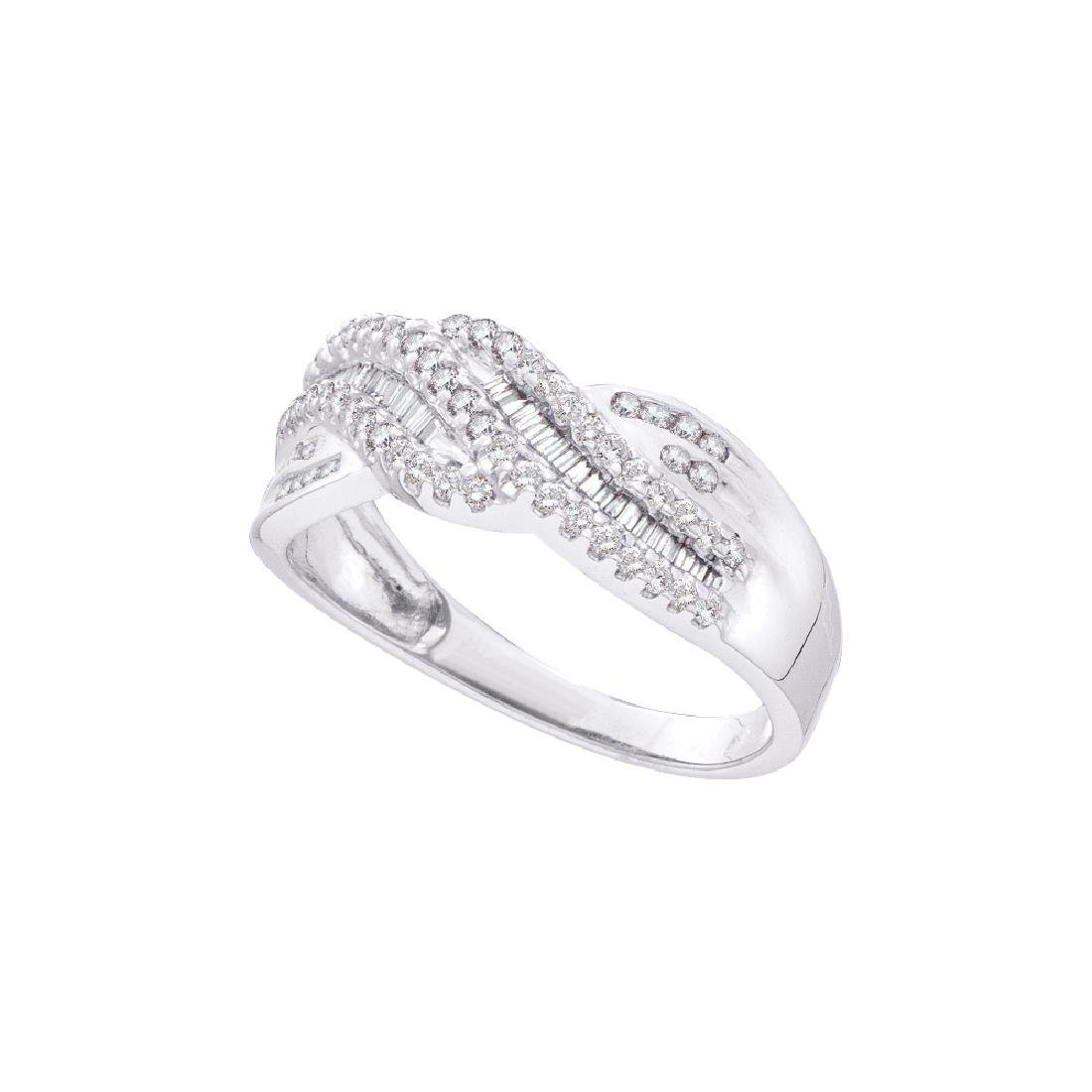 0.45 CTW Diamond Crossover Ring 14KT White Gold -